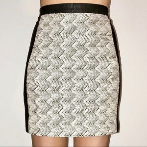 H&M Tweed Faux Leather Mini Skirt